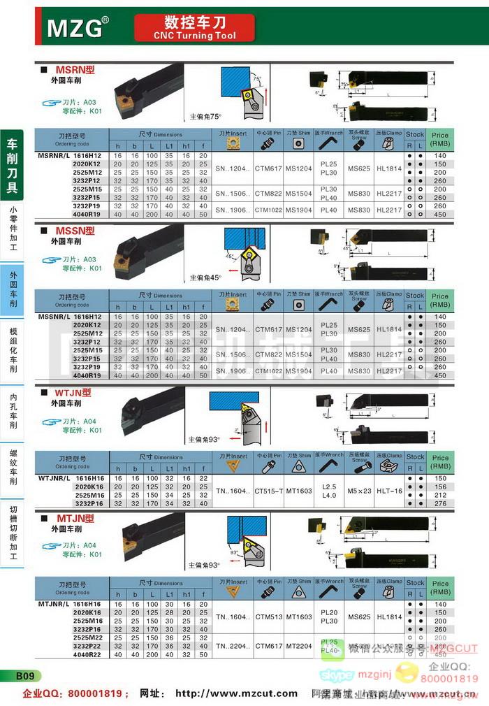MSRN,MSSN,WTJN,MTJN,MZG数控车刀参数图片价格