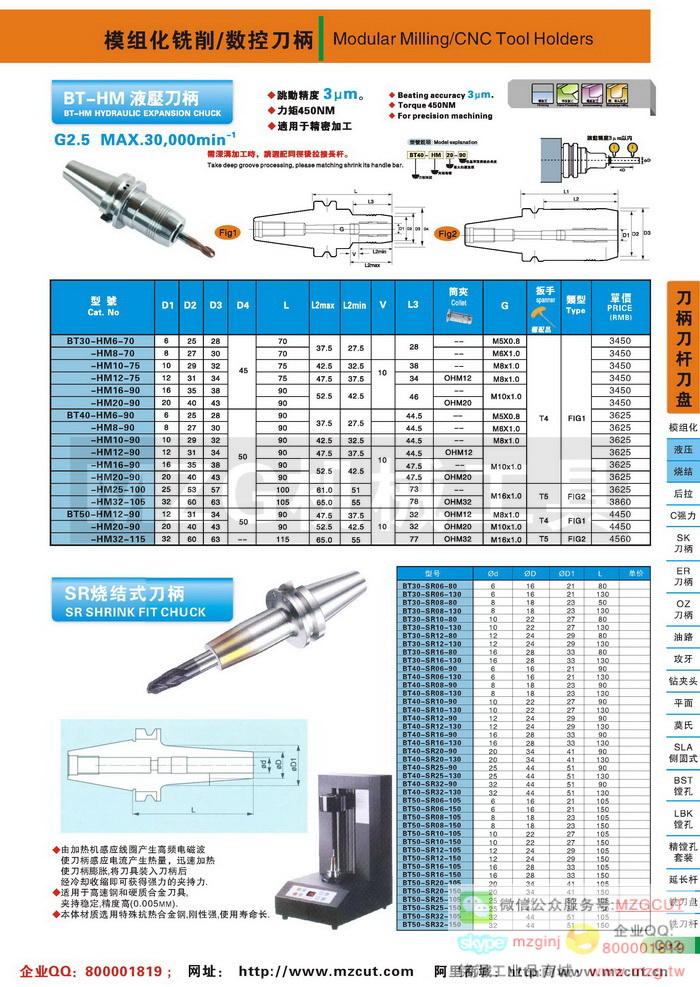 HM液压刀柄,SR烧结式刀柄,MZG数控刀柄参数图片价格