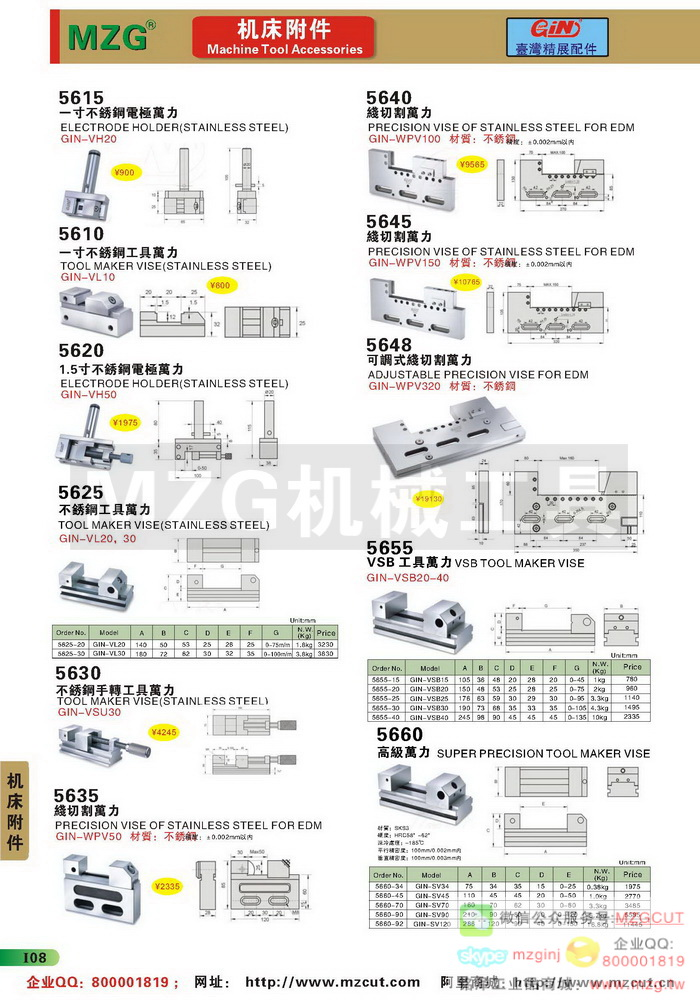 工具万力,线割万力,高级万力,精密磨床虎钳,台湾GIN精展配件参数图片价格